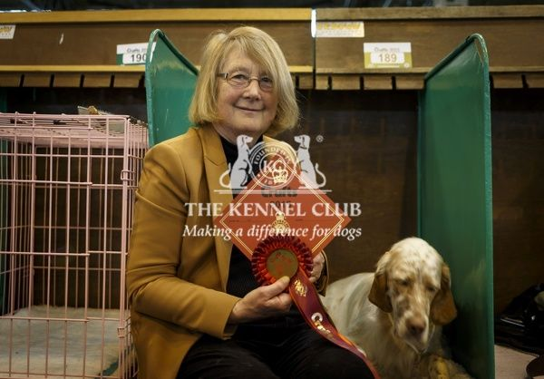 Picture shows the winner of the English Setter class, Freya, a 21 month old from Derbyshire with owner Margaret McCabe today (Thursday 05.03.15), the first day of Crufts 2015, at the NEC Birmingham
