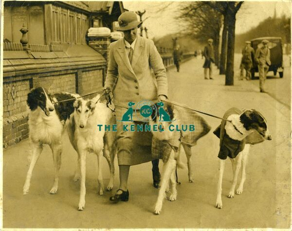 Miss Edith Muriel Robinson, most famous Borzoi breeder and dog show exhibitor in early British borzoi history.   E.M. Robison who owned, bred and exhibited the famous Mythe Borzois for 40 years