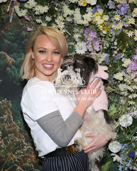 Picture shows Jorgie Porter and her dog Lady, a Bichon frise, on the Zoflora Fragrance Trail, (Thursday 07.03.19) the first day of Crufts 2019 at the NEC, Birmingham