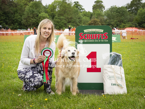 20190526 Copyright James Robinson     Free for editorial use image, please credit: James Robinson     Picture shows: Finalists of class Jenny Hopper and Kody who came first in Golden Oldie at the Judging of the Scruffts Family Crossbreed of
