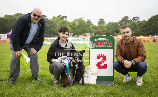 20190526 Copyright James Robinson     Free for editorial use image, please credit: James Robinson     Picture shows: Finalists of class Estelle Vickery and Chula who came second in Golden Oldie at the Judging of the Scruffts Family Crossbreed